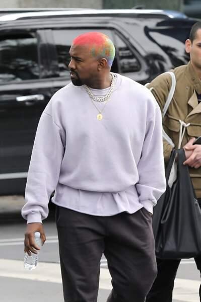 Kanye West et sa nouvelle coiffure arc-en-ciel, Los Angeles