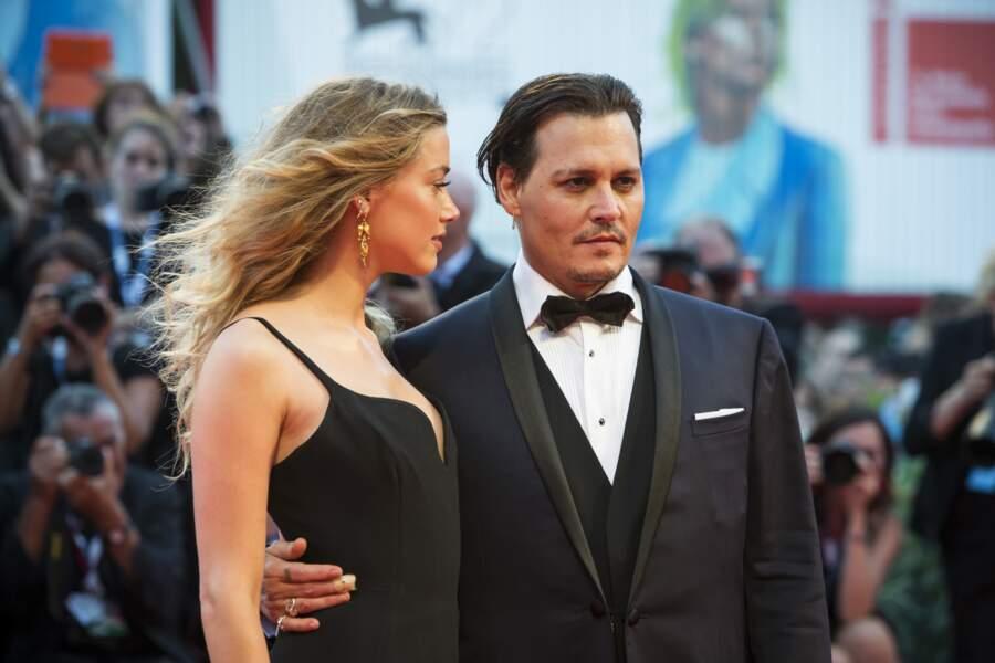 Johnny Depp et Amber Heard  à l'avant première de Black Mass
