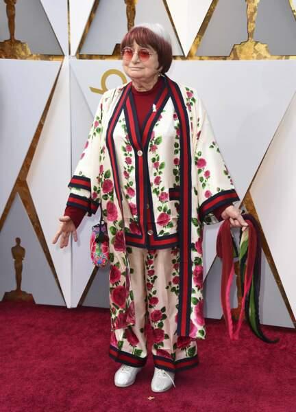 Agnès Varda à la 90e cérémonie des Oscars, à Los Angeles le 4 mars 2018