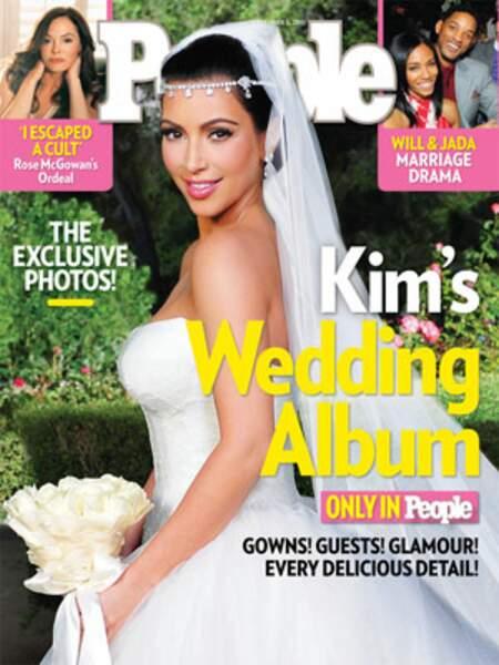 Robes de mariée de stars : Kim Kardashian en 2011 pour son mariage avec Kris Humphries. Le bijou de front :O