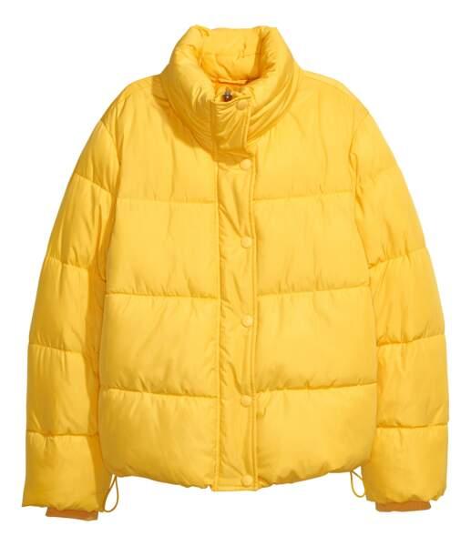 Sélection doudoune : H&M, doudoune jaune, 49,99 euros