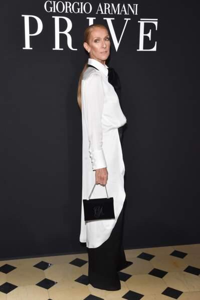 Fashion week couture : le look de Céline Dion au défilé Armani Privé
