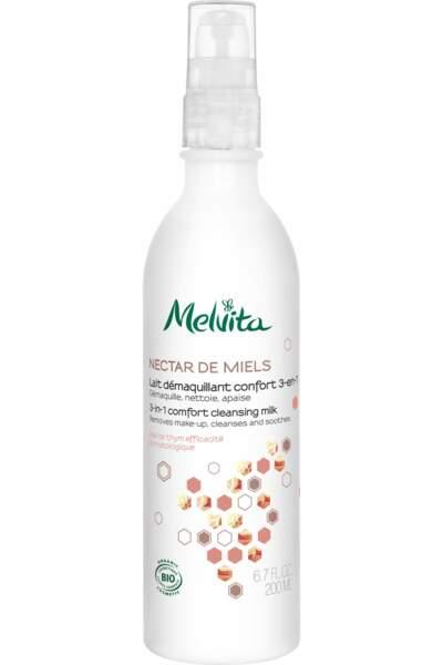 Lait démaquillant confort 3-en-1 au miel de thym bio, Melvita, 13,50€