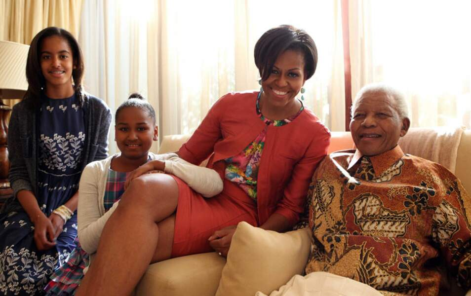 Avec Michelle, Sacha et Malia Obama