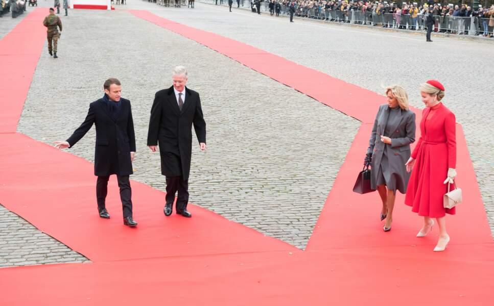 Brigitte Macron et Mathilde de Belgique rejoignent leur mari