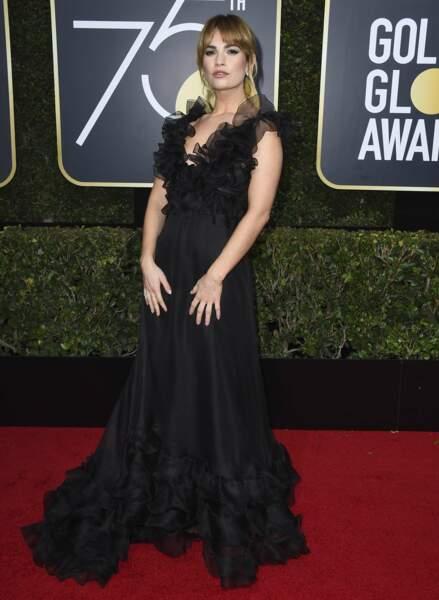 Lily James lors de la 75e cérémonie des Golden Globes, le 7 janvier 2018