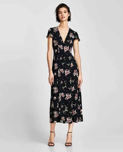 Zara : Robe longue imprimée, 29,99 euros au lieu de 49,95 euros