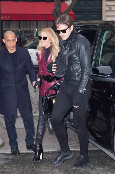 Céline Dion et Pepe Munoz en route pour les bureaux de la maison Givenchy