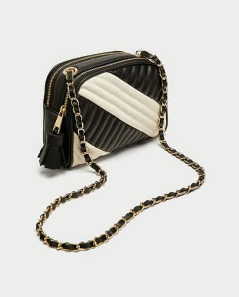 Zara : Sac à bandoulière matelassé bicolore,12,99 euros au lieu de 22,95 euros