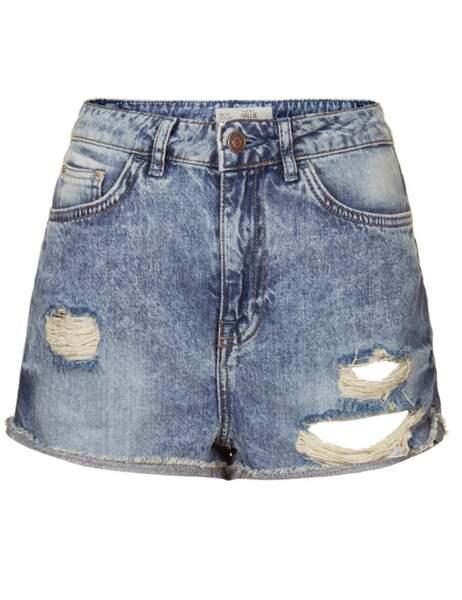 Short en jean destroy TopShop : 40€