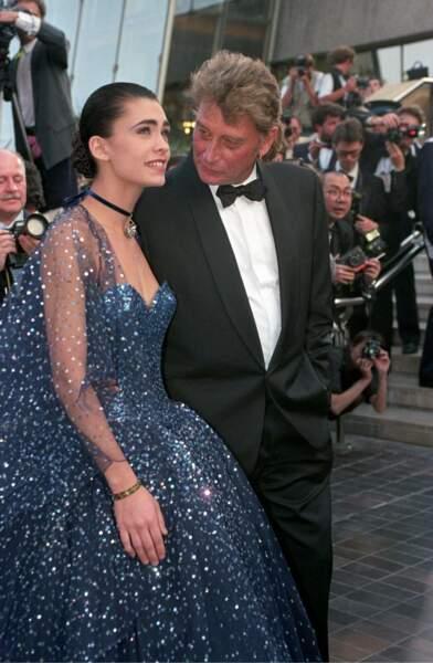 1992 : Johnny Hallyday et Adeline Blondieau au Festival de Cannes