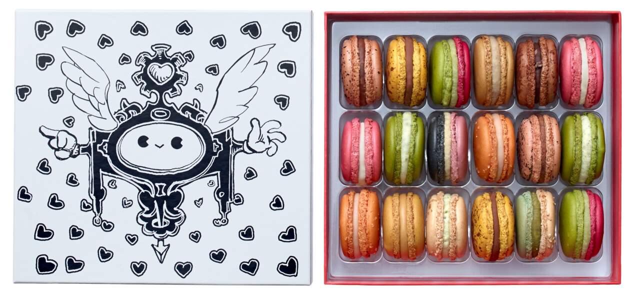 Coffret 18 macarons Cupidon. 44€, Pierre Hermé x Nicolas Buffe.