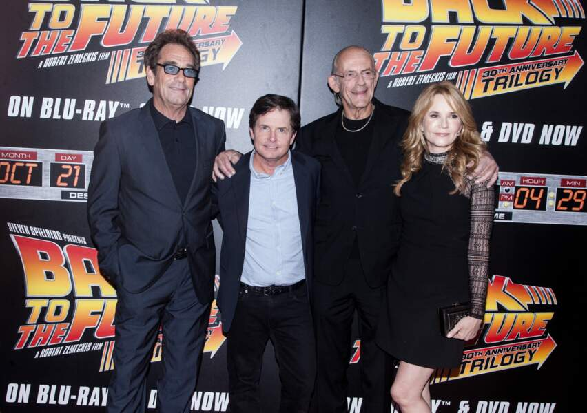 Huey Lewis, Michael J. Fox, Christopher Lloyd et Lea Thompson
