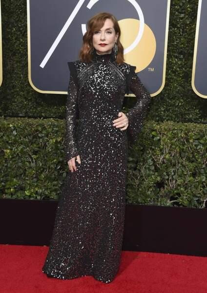 Isabelle Huppert lors de la 75e cérémonie des Golden Globes, le 7 janvier 2018
