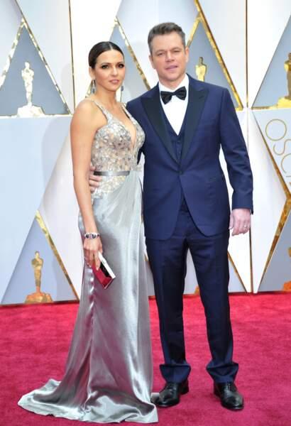 Les plus beaux couples des Oscars 2017 : Luciana Barroso et Matt Damon