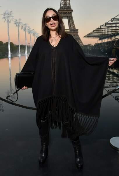 Béatrice Dalle au défilé Saint Laurent à la fashion week de Paris, le 25 septembre