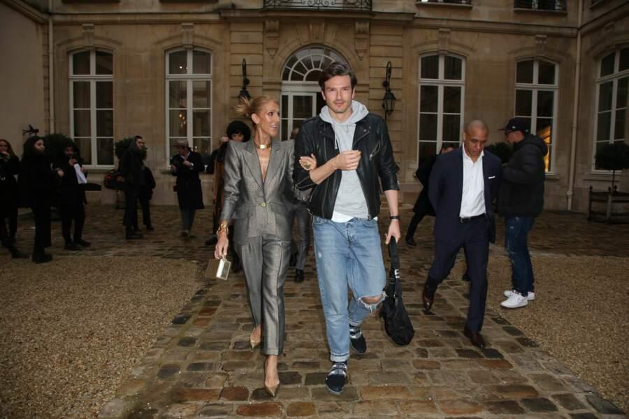 Céline Dion et Pepe Munoz au défilé Van Der Kemp