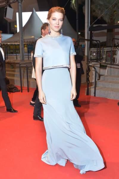 Léa Seydoux dans sa superbe robe Miu Miu