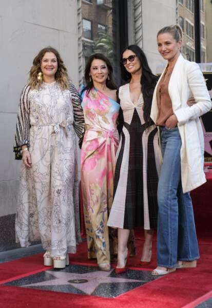 Drew Barrymore, Lucy Liu, Demi Moore et Cameron Diaz sur le Walk of Fame