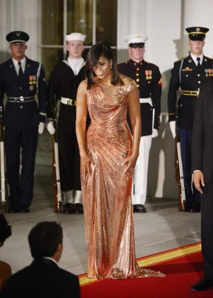 Michelle Obama en Atelier Versace