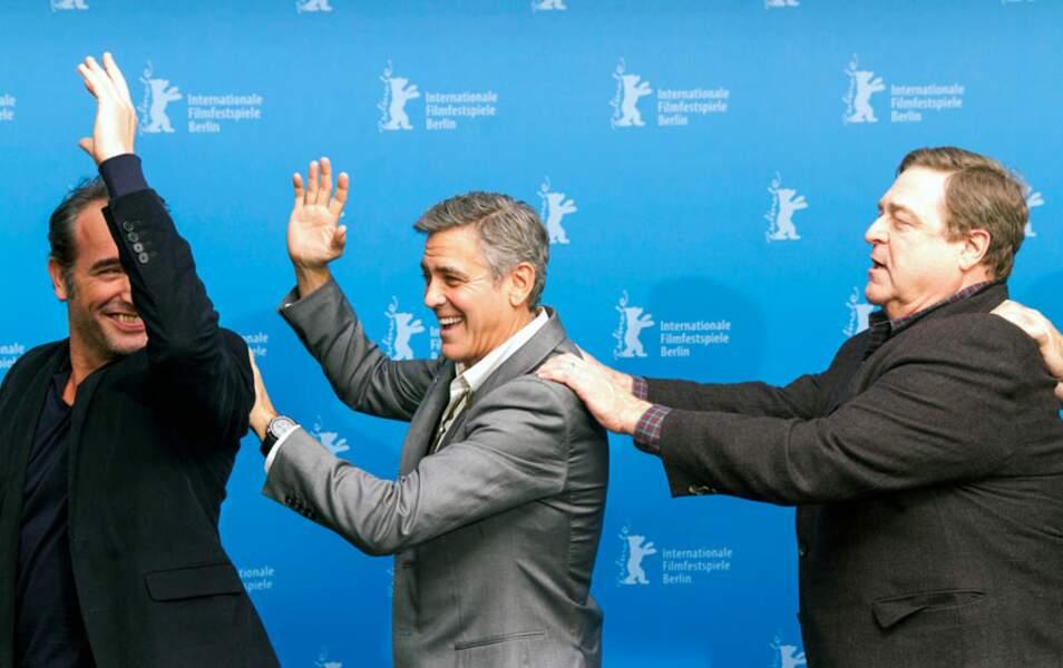 Jean Dujardin, George Clooney et John Goodman