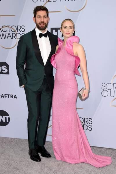 Emily Blunt et John Krasinski aux SAG Awards 2019, le 27 janvier, à Los Angeles