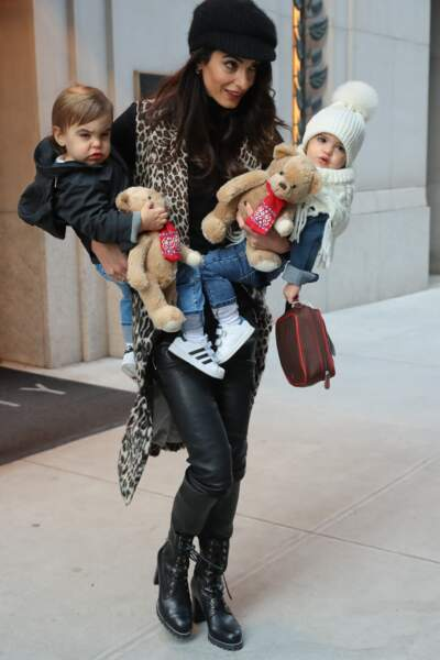 Amal Clooney And Kids Leave Their Hotel - NYC