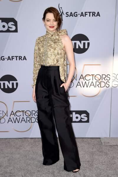 Emma Stone aux SAG Awards 2019, le 27 janvier, à Los Angeles