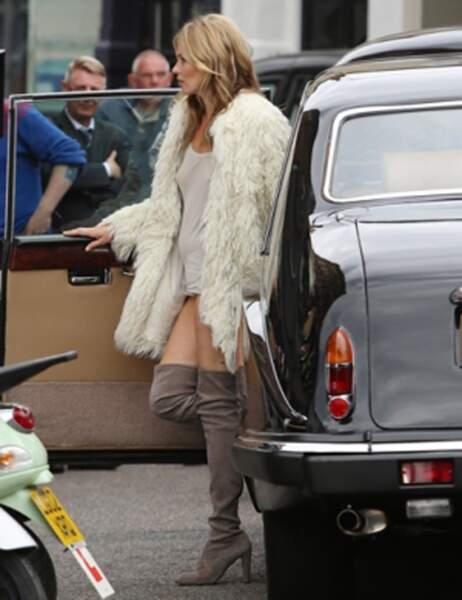 Kate Moss lors du tournage d'une pub