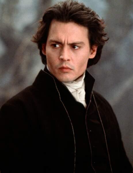 Johnny Depp en 1999 sur le tournage de Sleepy Hollow