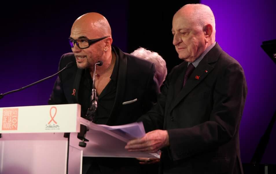 Pascal Obispo avec Line Renaud et Pierre Bergé