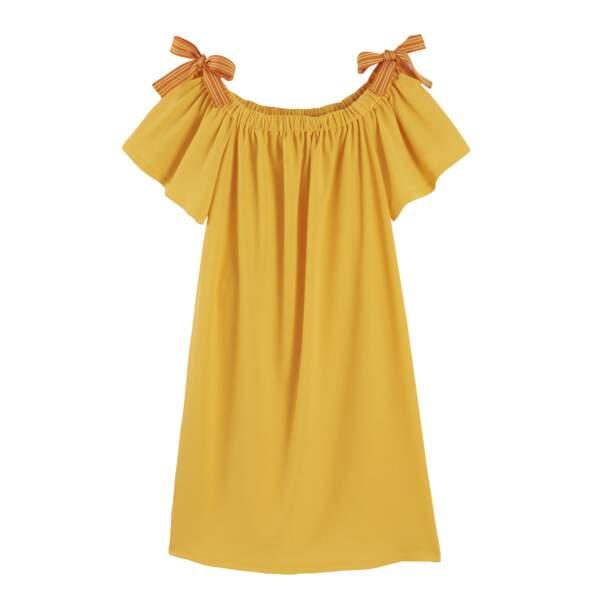 Camaïeu. Robe courte froncée à nœud, 19,99 €
