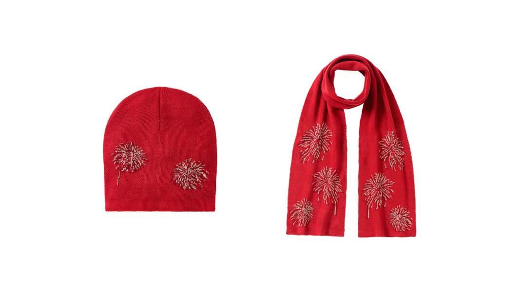 Ensemble bonnet + écharpe en acrylique. 29,95€, Benetton