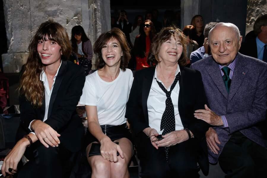 Fashion Week défilé Saint Laurent : Lou Doillon, Charlotte Gainsbourg, Jane Birkin et Pierre Bergé