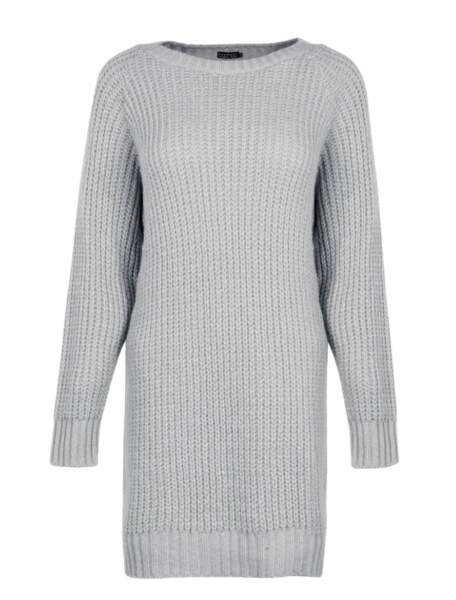 Robe pull en maille douce argent, Boohoo, 23€