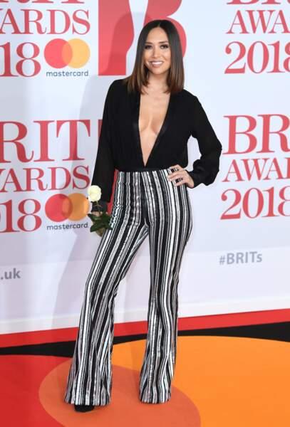 Myleene Klass aux Brit Awards 2018, le 21 février à Londres