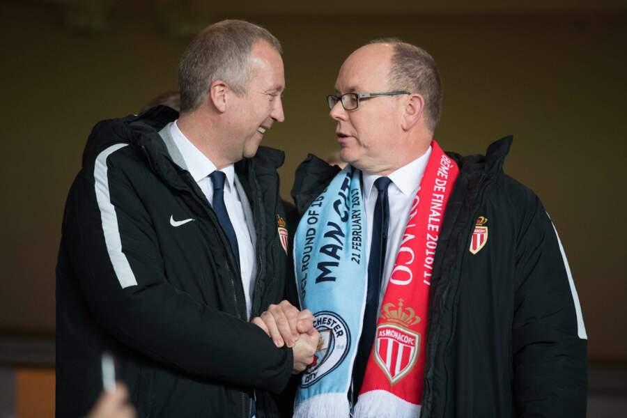 AS Monaco vs Manchester City : Prince Albert II de Monaco et le vice-président du club, Vadim Vasilyev