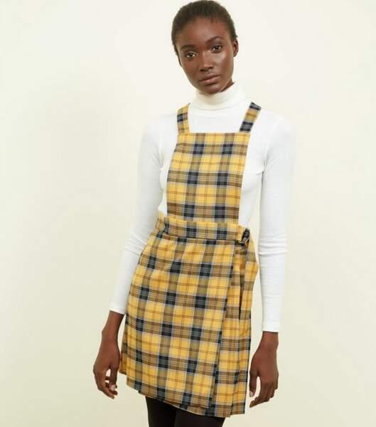 Robe chasuble jaune à carreaux, newlook, 29,99€