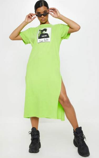 Robe t-shirt fluo, Pretty Little Thing, 28€
