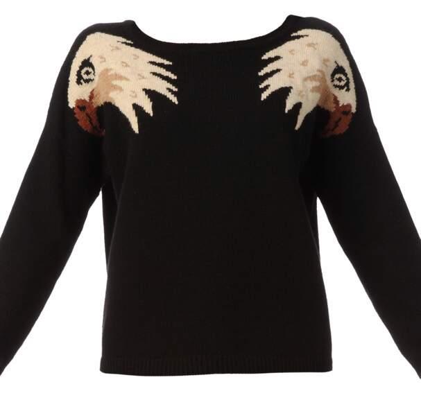 Pull à motifs aigle sur les épaules, 69€ (Yumi sur monshowroom.com)