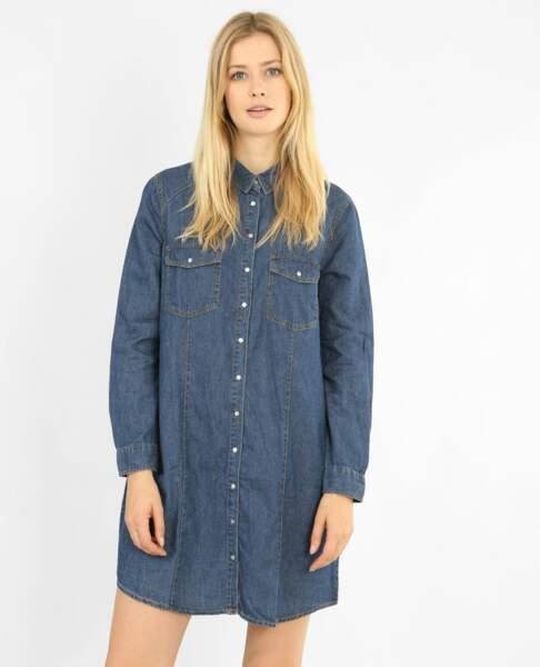 Pimkie : 35 articles soldés sur lesquels on craque : Robe chemise en jean, 20 euros au lieu de 35,99 euros