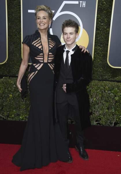 Sharon Stone en Vitor Zerbinato et Roan Joseph Bronstein lors de la 75e cérémonie des Golden Globes