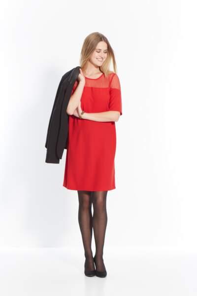 Robe rouge en viscose - 69,99 €