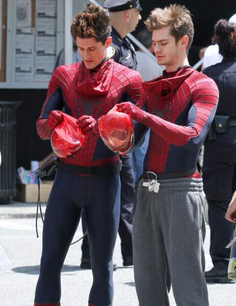 Andrew Garfield et sa doublure dans The amazing Spider Man 2