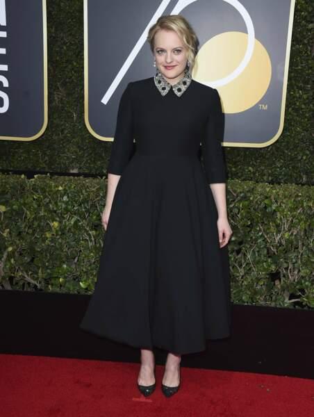 Elisabeth Moss lors de la 75e cérémonie des Golden Globes, le 7 janvier 2018