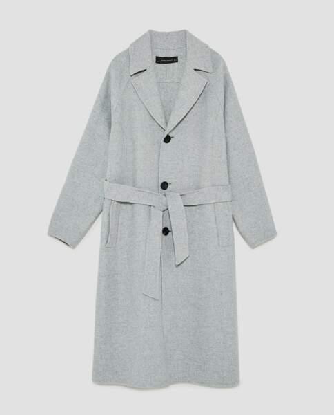 Zara : Manteau avec ceinture, 89,99 euros au lieu de 129 euros