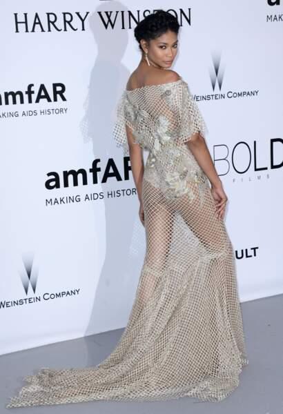 Cannes 2016: le top Chanel Iman en robe résille Marchesa