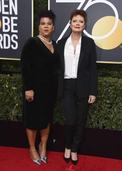Rosa Clemente et Susan Sarandon lors de la 75e cérémonie des Golden Globes, le 7 janvier 2018