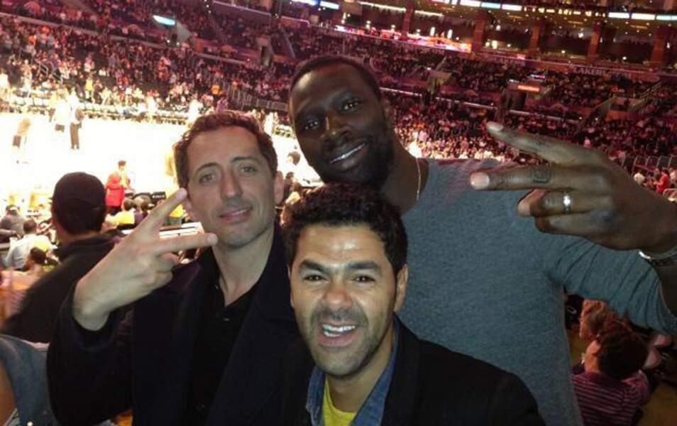 Jamel avec Gad Elmaleh et Omar Sy au Staples Center de Los Angeles