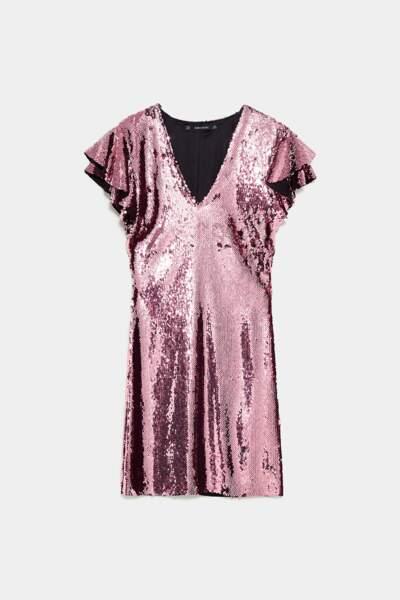 Robe à paillettes rose, Zara, 49,95€